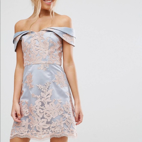 ASOS Dresses & Skirts - Chi Chi London Lace Bardot Cocktail Prom Dress